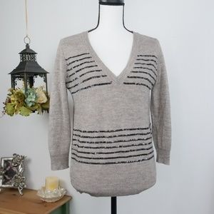 J.Crew Alpaca & Wool Blend Sweater Sequin V-Neck S